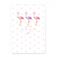 "Cartes à bijoux ""You are one in a million"" avec flamant rose blanc-rose"