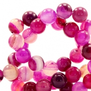Pierres naturelles Line Agate 4mm rond rose fuchsia opal