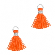 Pompons 1cm argenté-orange néon