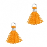 Pompons 1cm argenté-orange flamme