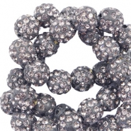 Perles strass 10mm gris anthracite