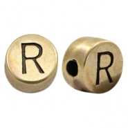 Perles alphabet en métal DQ lettre R bronze antique (sans nickel)