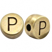 Perles alphabet en métal DQ lettre P bronze antique (sans nickel)