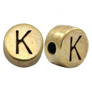 Perles alphabet en métal DQ lettre K bronze antique (sans nickel)