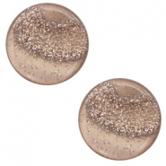 Cabochon plat 12mm Polaris Elements Stardust Taupe brown