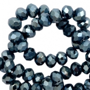 Perles à facettes 4x3 mm disque Navy blue-amber coating