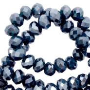 Perles à facettes 4x3 mm disque Dark blue-pearl shine coating