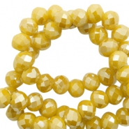 Perles à facettes 4x3 mm disque Mustard yellow-pearl shine coating