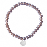 Bracelets Sisa perles à facettes 6x4mm (breloque en acier inox) Dark grape purple-pearl shine coating