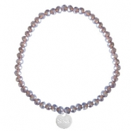 Bracelets Sisa perles à facettes 4x3mm (breloque en acier inox) Dark grape purple-pearl shine coating