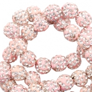 Perles strass 6mm Rose clair