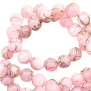 Perles coquillage rond 8mm gold line Rose clair