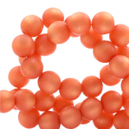 Perles Super Polaris rond 10mm mat Rose corail tigerlily