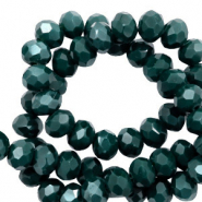 Perles à facettes 4x3 mm disque Vert profond-pearl shine coating