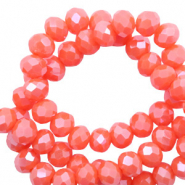 Perles à facettes 3x2 mm disque Rouge corail tigerlily-pearl shine coating