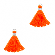 Pompons 1.5cm Argenté-orange fluo