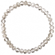 Bracelets perles à facettes 6x4mm Greige crystal-pearl shine coating