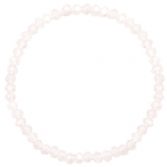 Bracelets perles à facettes 4x3mm Light lavender pink opal-pearl shine coating