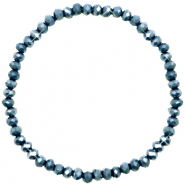 Bracelets perles à facettes 4x3mm Dark blue-pearl shine coating