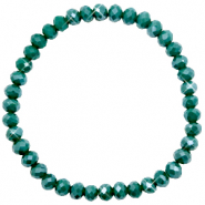Bracelets perles à facettes 6x4mm Petrol green-pearl shine coating