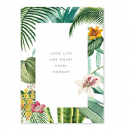 Cartes à bijoux 'love life and enjoy every moment' Blanc-vert