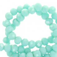 Perles à facettes 6x4mm disque Turquoise aqua blanchi-pearl shine coating