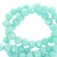 Perles à facettes 4x3mm disque Turquoise aqua blanchi-pearl shine coating