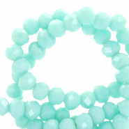Perles à facettes 3x2mm disque Turquoise aqua blanchi-pearl shine coating