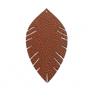 Pendentifs en simili cuir feuille small Marron chocolat