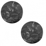Cabochon plat 12mm Polaris Elements Lively Noir charbon