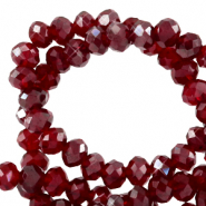 Perles à facettes 8x6mm disque Rouge salsa-pearl shine coating