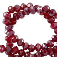 Perles à facettes 6x4mm disque Rouge salsa-pearl shine coating