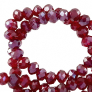 Perles à facettes 3x2mm disque Rouge salsa-pearl shine coating