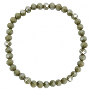 Bracelets perles à facettes 6x4mm Olive green-pearl shine coating