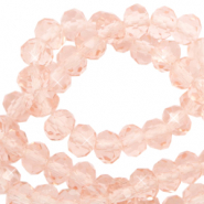 Perles à facettes 3x2mm disque Rose pêche-Pearl Shine Coating