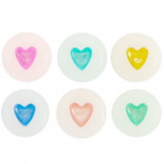 Perles lettres acryliques coeurs glow-in-the-dark Blanc cassé-multicolore