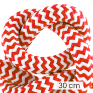 Cordelette style marin 10mm (3x30cm) Blanc-rouge