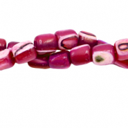 Perles coquillage tube Rouge cerise