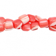 Perles coquillage tube Rouge corail