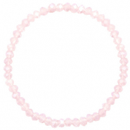 Bracelets perles à facettes 4x3mm Rose pink clair-pearl shine coating
