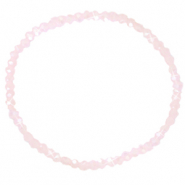 Bracelets perles à facettes 3x2mm Rose pink clair-pearl shine coating