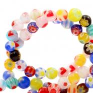 Millefiori Grande Pépite Perles-min 50gms-PALE Aqua Base /& Blanc Détail Fleur