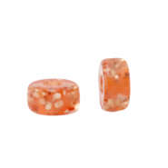 Perles Polaris Eléments rondelles Heishi 4mm Pailletées Orange vibrante