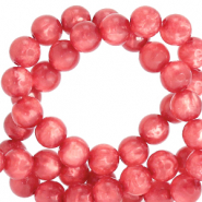 Perles Polaris rond 8mm Mosso shiny Rouge amarena