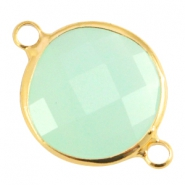 Connecteurs Crystal Glass rond 16mm Crysolite green opal-Gold