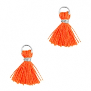 Pompons small style Ibiza argenté-orange néon