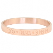 "Bracelet en acier inox avec quote ""FOOD?FRIENDS?SUNSHINE"" doré rose"