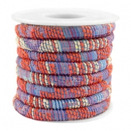 Cordon cousu 6x4mm multicolore rouge corail bleu