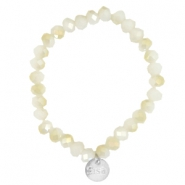Bracelets Sisa perles à facettes 8x6mm White alabaster-light gold diamond coating