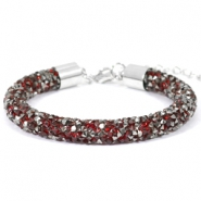 Bracelets Crystal Diamond 8mm rouge siam-anthracite